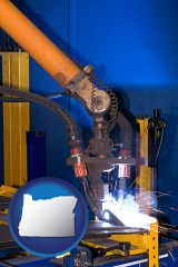 oregon an industrial welding robot