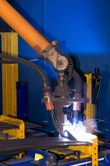 an industrial welding robot