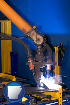 an industrial welding robot - with Arkansas icon