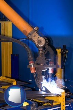 an industrial welding robot - with Arizona icon