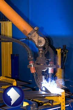 an industrial welding robot - with Washington, DC icon