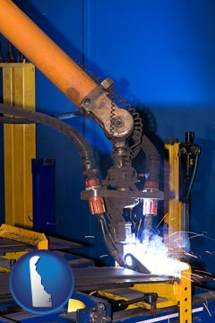 an industrial welding robot - with Delaware icon
