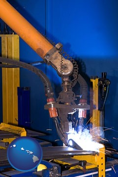 an industrial welding robot - with Hawaii icon