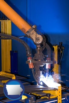 an industrial welding robot - with Iowa icon