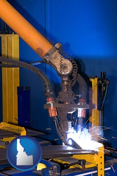 an industrial welding robot - with Idaho icon
