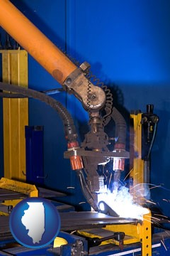 an industrial welding robot - with Illinois icon