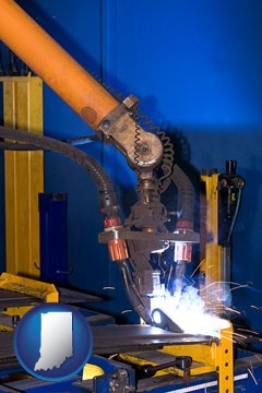 an industrial welding robot - with Indiana icon