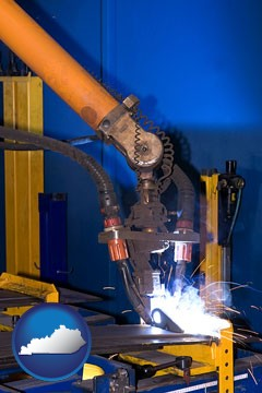 an industrial welding robot - with Kentucky icon