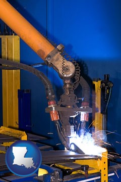 an industrial welding robot - with Louisiana icon