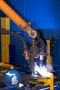 an industrial welding robot - with Michigan icon