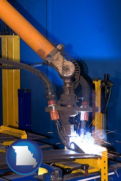 an industrial welding robot - with Missouri icon