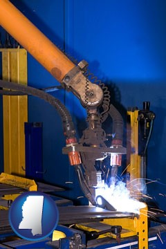 an industrial welding robot - with Mississippi icon