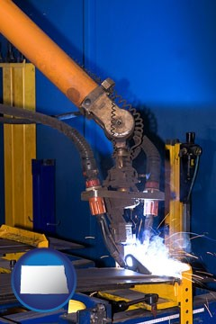 an industrial welding robot - with North Dakota icon