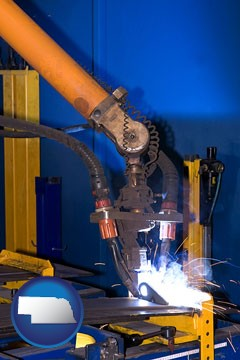 an industrial welding robot - with Nebraska icon