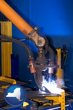 an industrial welding robot - with New York icon