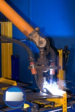 an industrial welding robot - with Pennsylvania icon