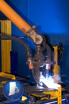 an industrial welding robot - with Rhode Island icon