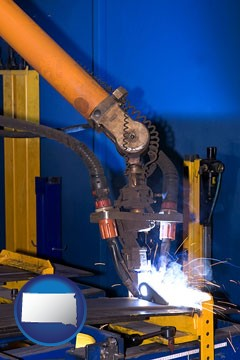 an industrial welding robot - with South Dakota icon