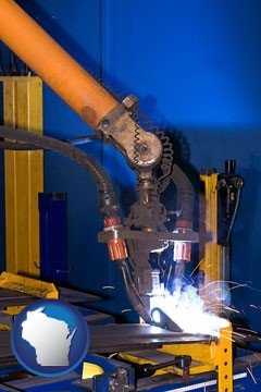 an industrial welding robot - with Wisconsin icon