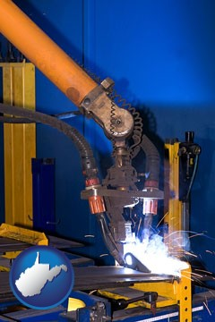 an industrial welding robot - with West Virginia icon